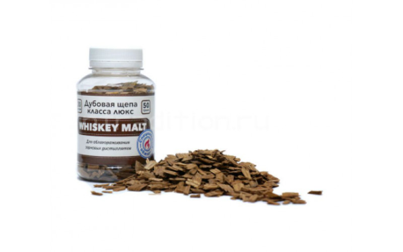 Щепа дубовая Whiskey Malt, специальный обжиг, 50 гр.